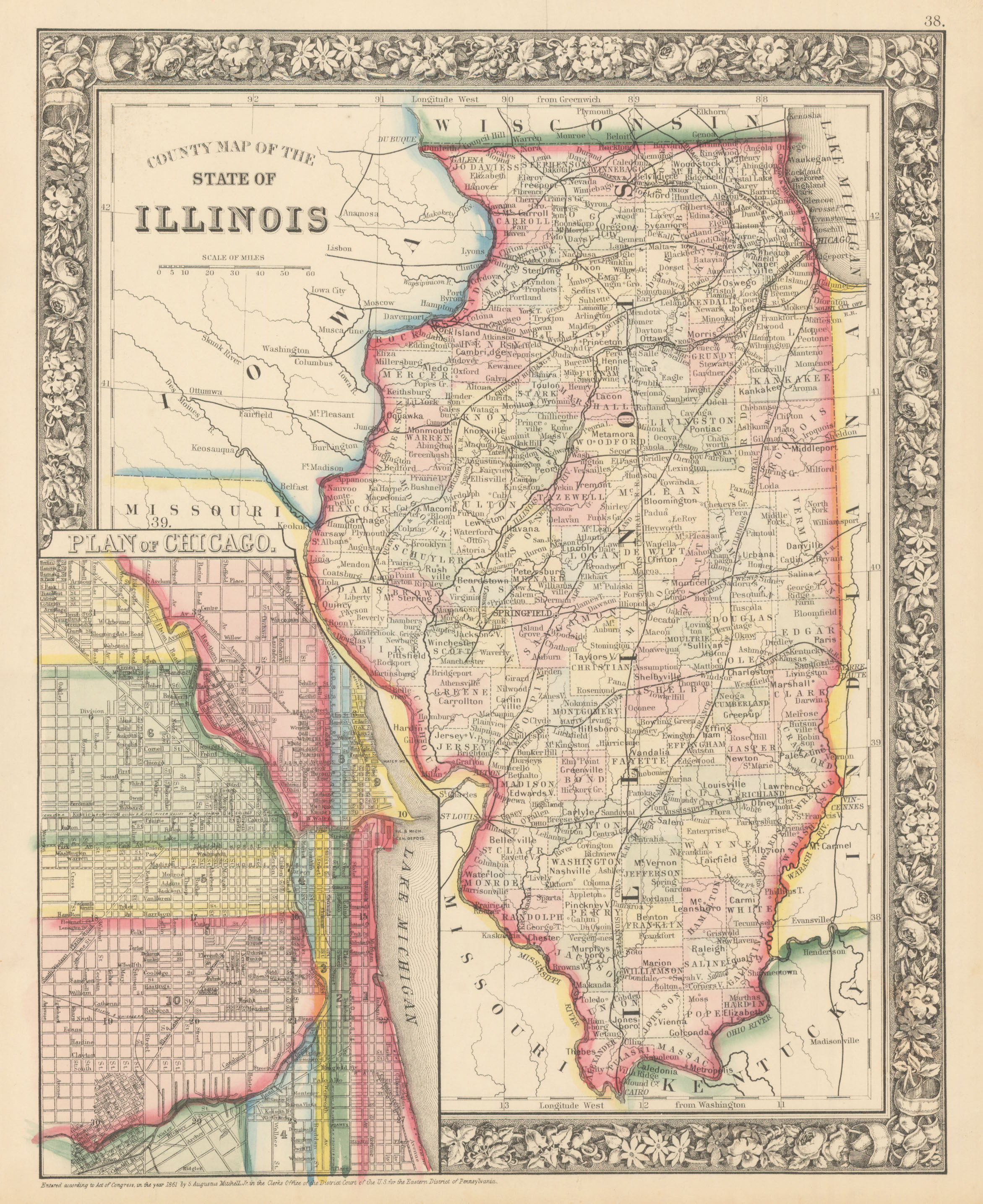 Antique Map of Illinois Chicago By Mitchell 1860 HJBMapscom