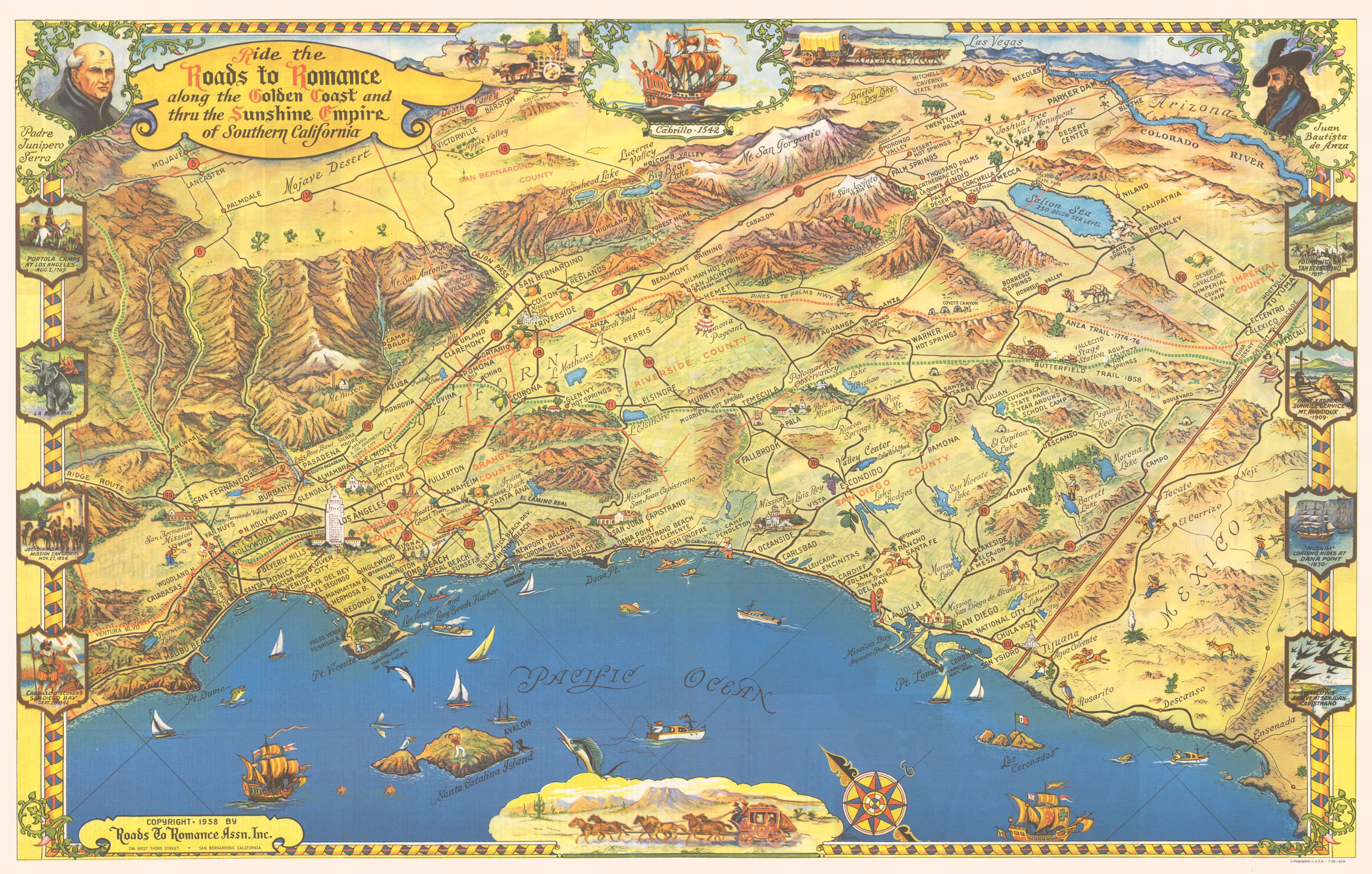 Ride The Roads To Romance Along The Golden Coast And Thru The - High resolution us road map