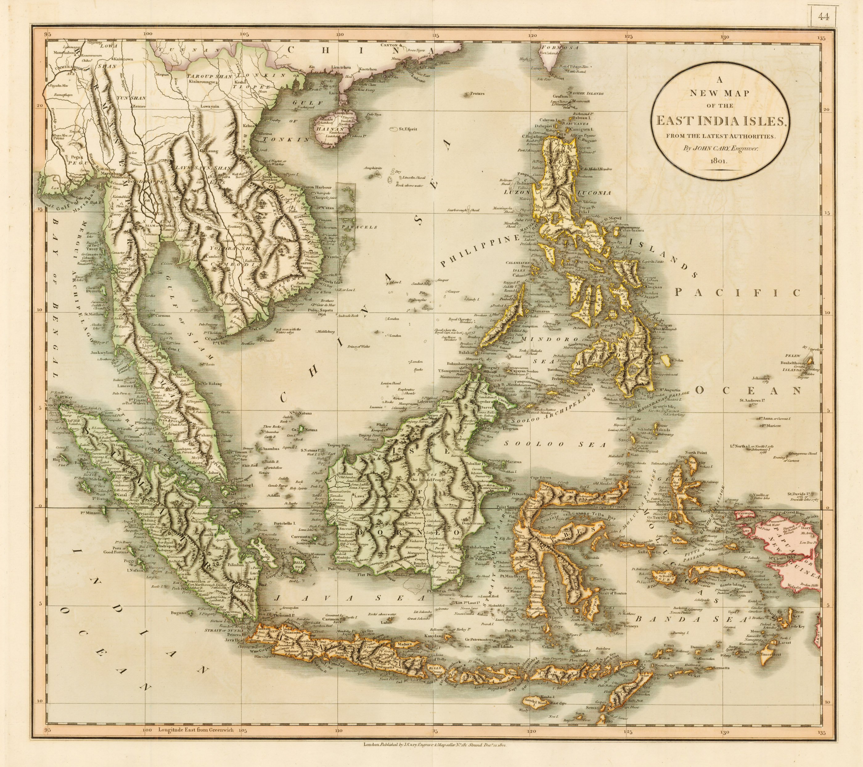 The New Map Of The World.1801 A New Map Of The East India Isles