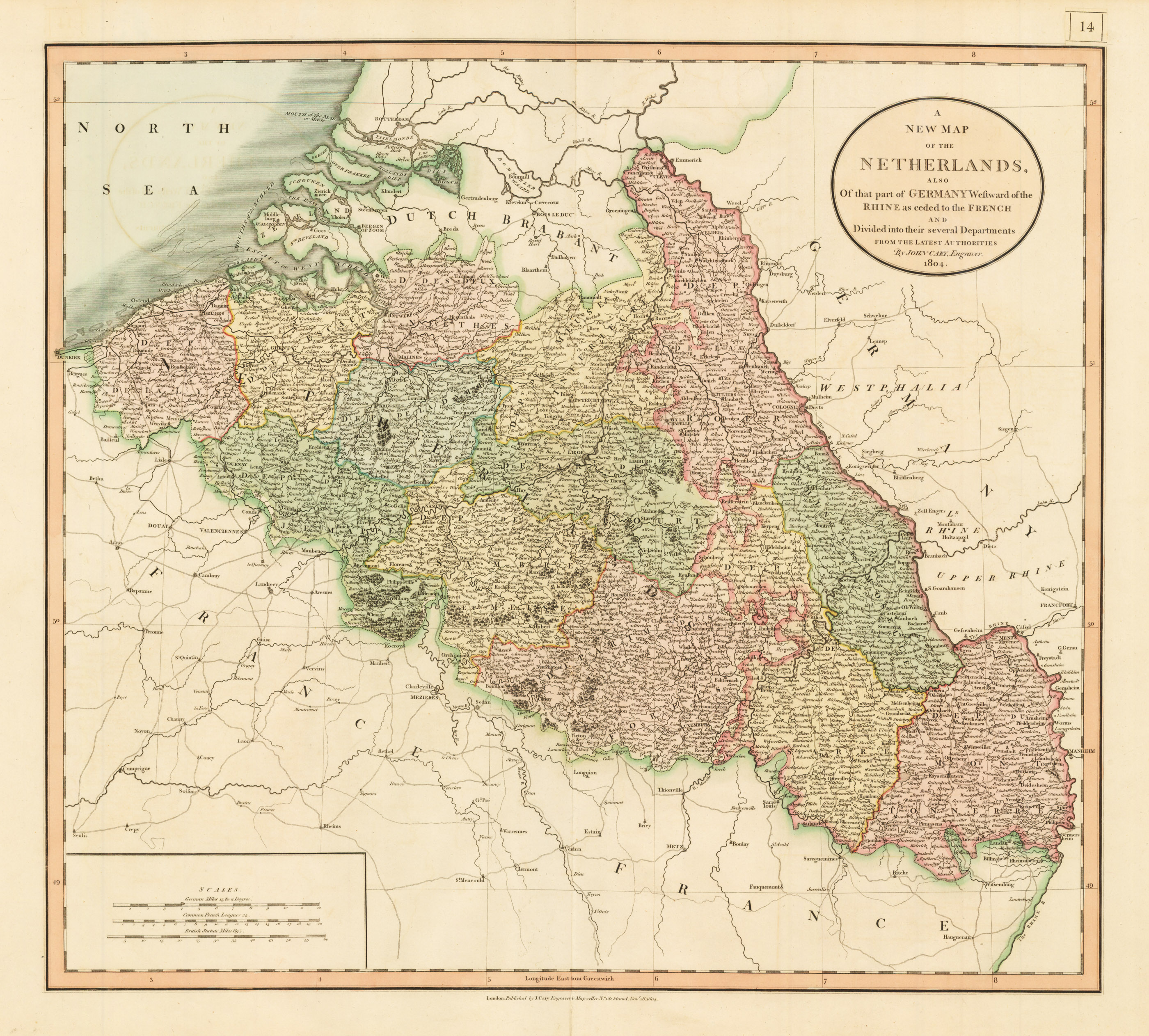 A New Map of the Netherlands also of that part of Germany Westward