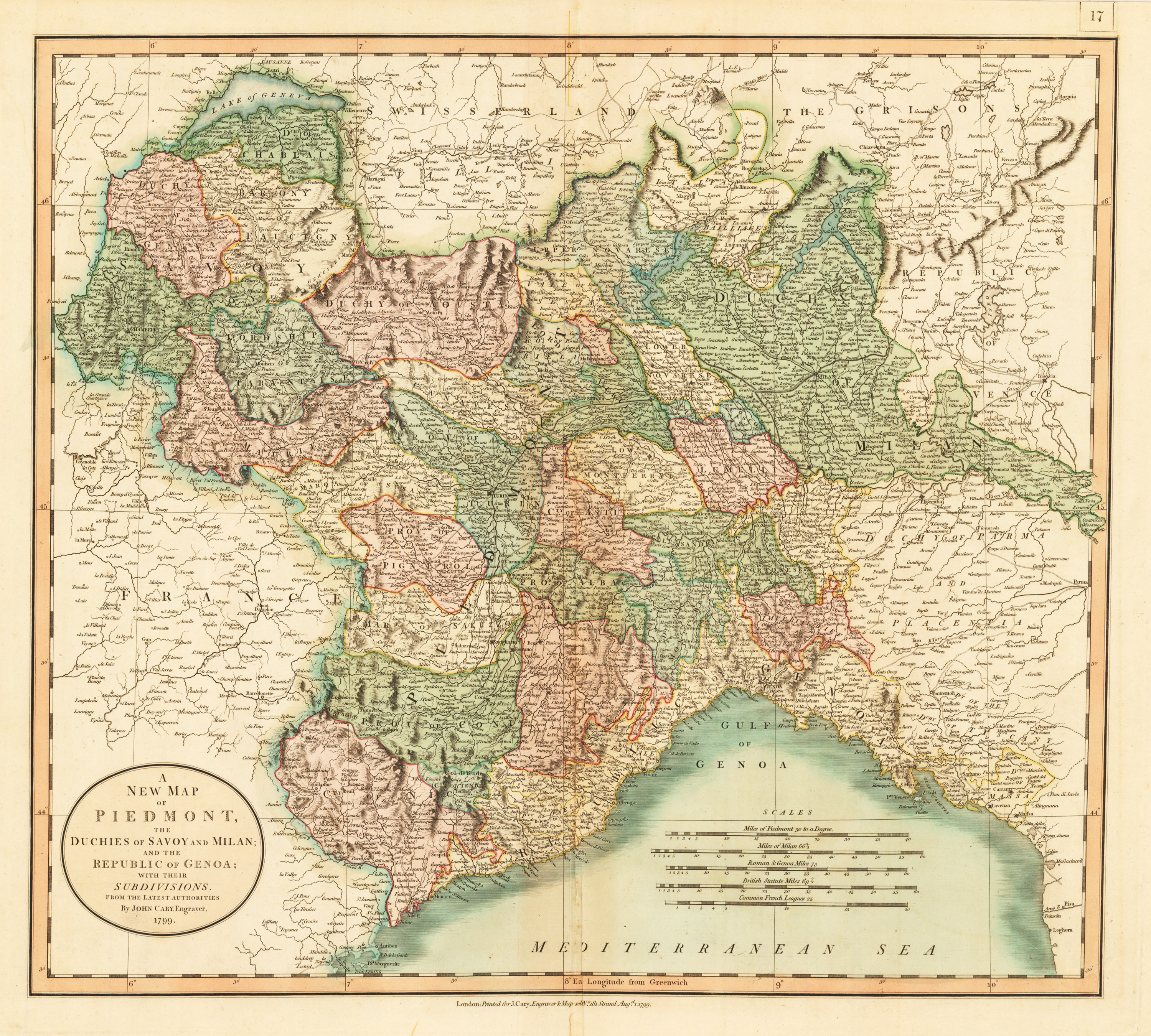 The New Map Of The World.1799 A New Map Of Piedmont The Duchies Of Savoy And Milan And The Republic Of Genoa With Their Subdivisions From The Latest Authorities