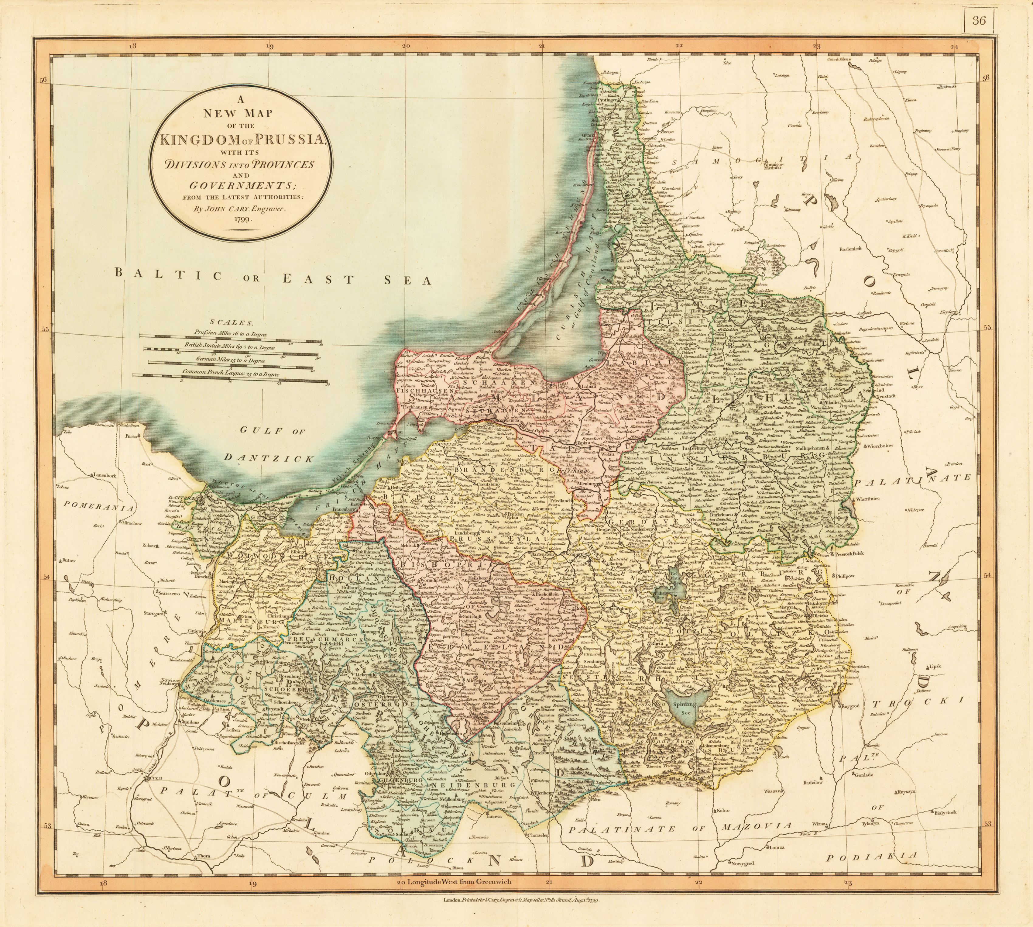A New Map Of The Kingdom Of Prussia With Its Divisions Into