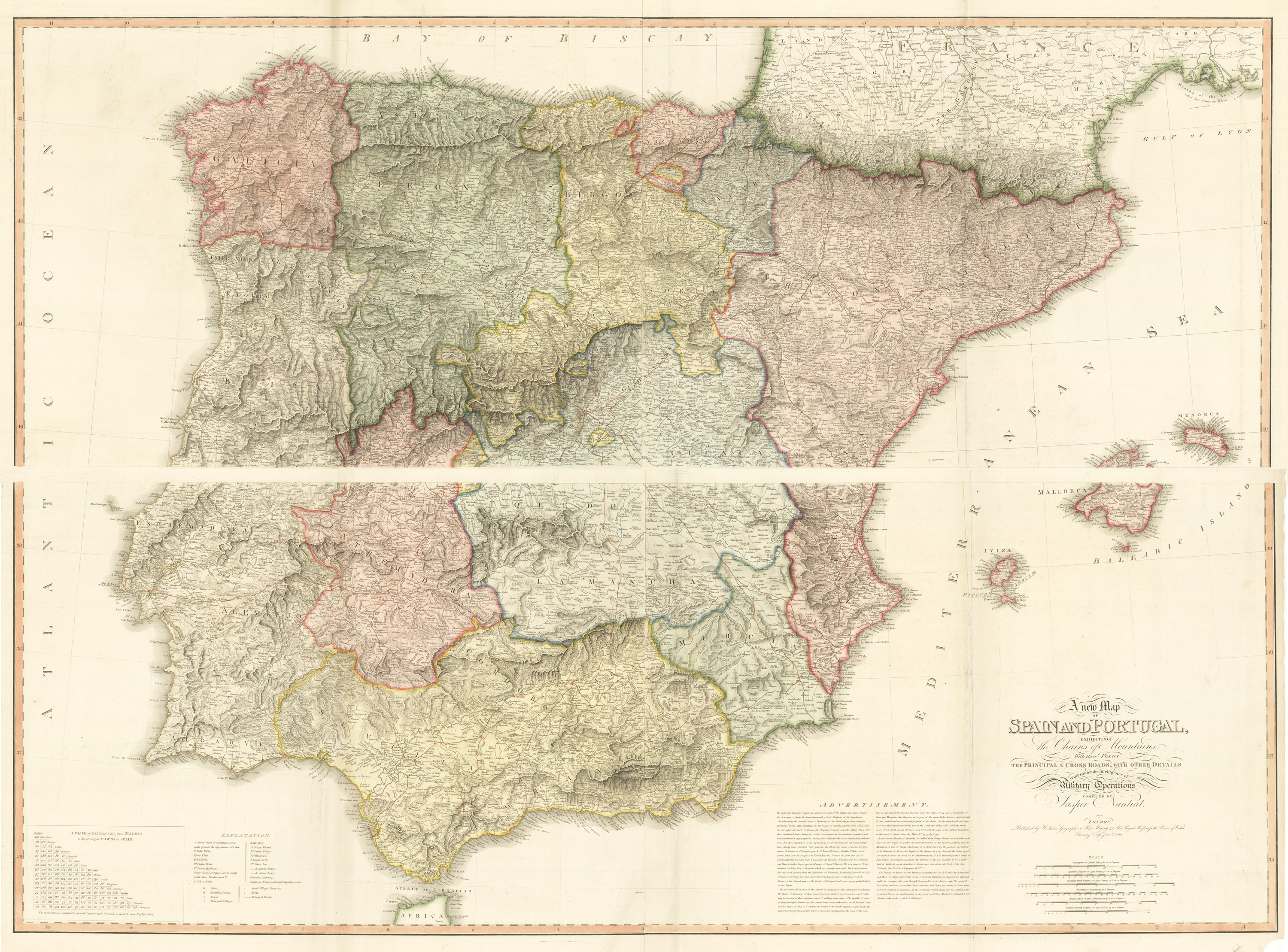 A New Map Of Spain And Portugal Exhibiting The Chains Of - Portugal map mountains