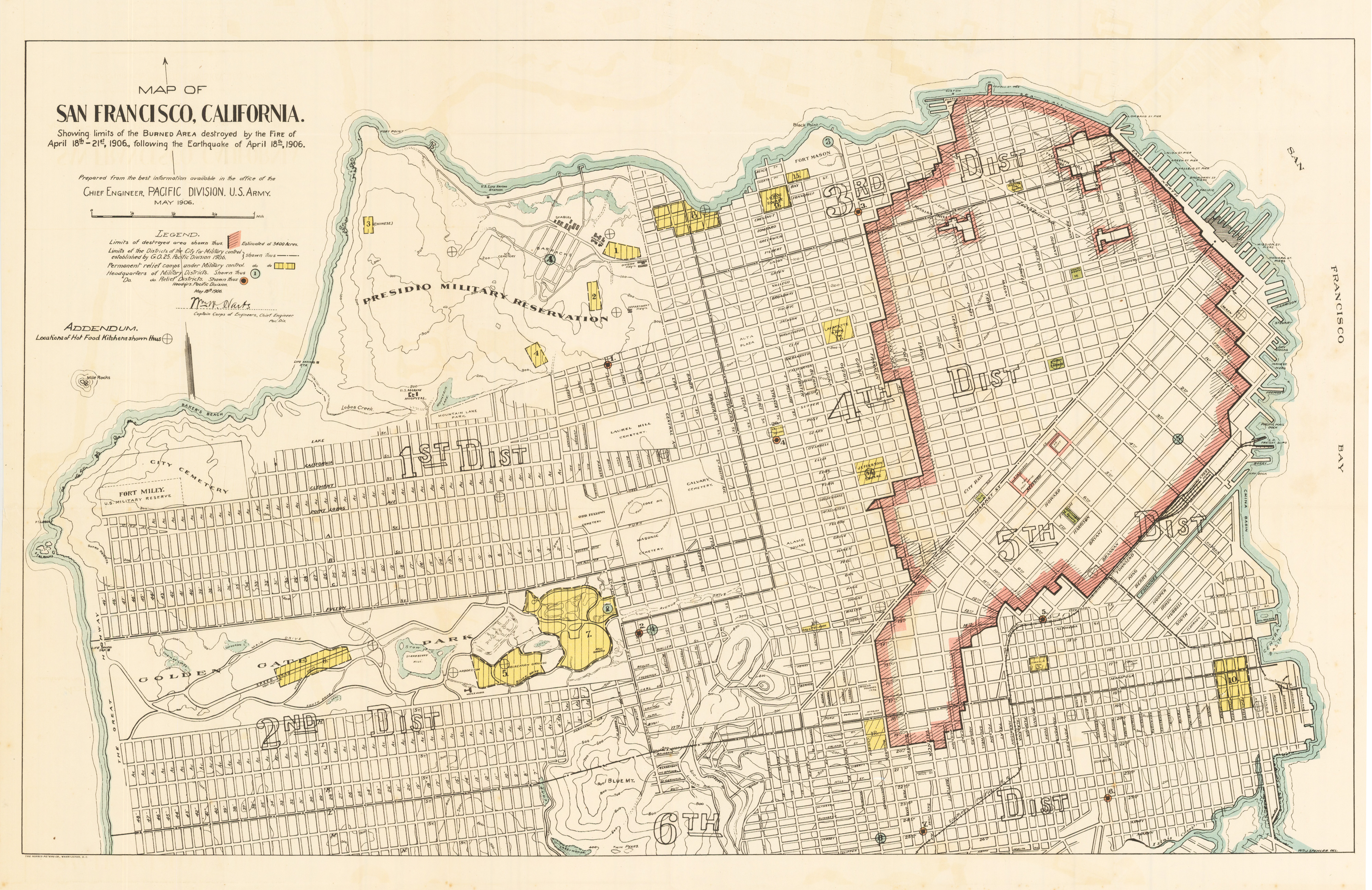 Antique Map San Francisco Fire 1906 hjbmapscom HJBMapscom