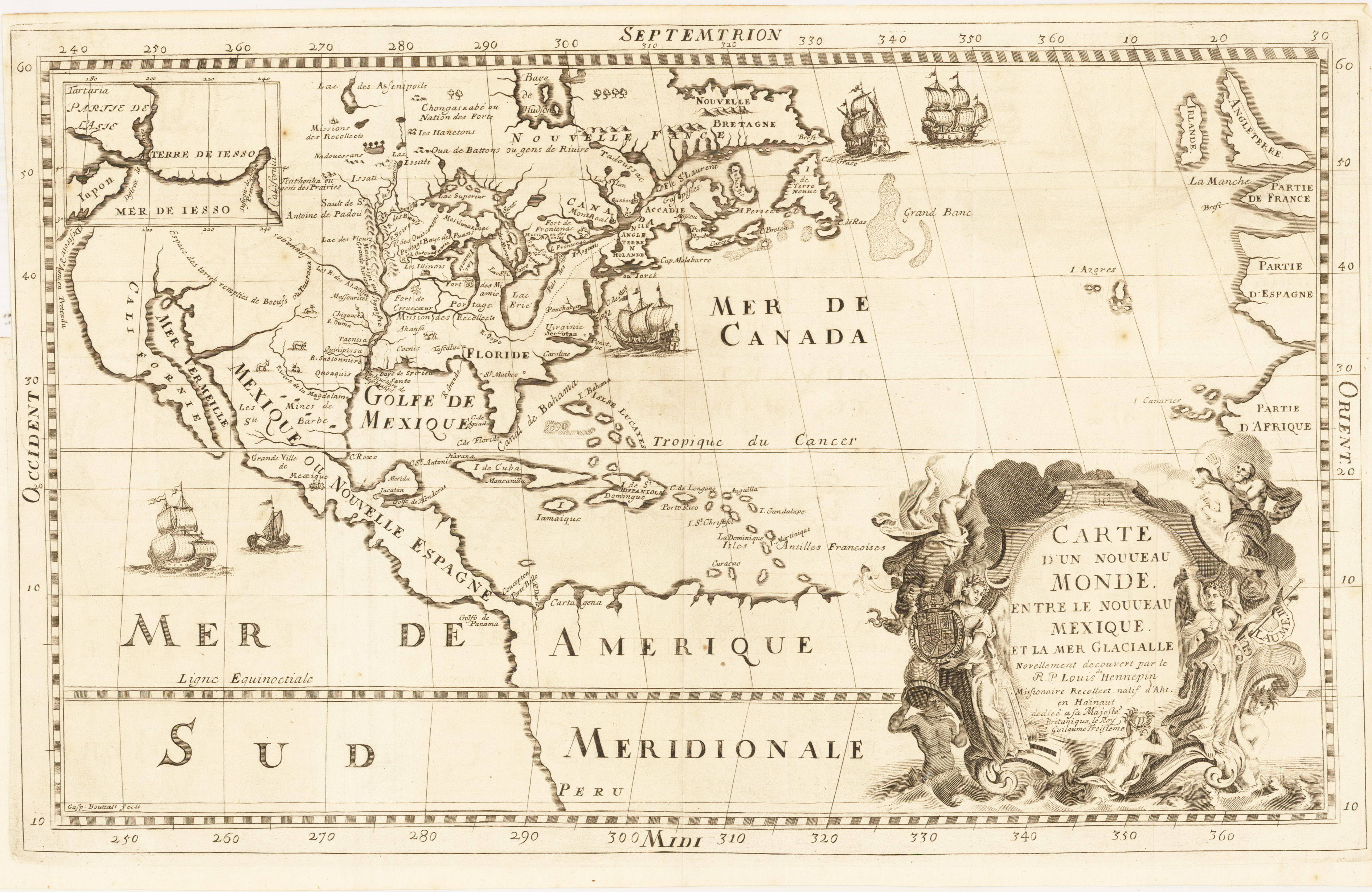 Antique Map Of North America.Antique Map Of North America Hennepin 1683 Hjbmaps Com Hjbmaps Com