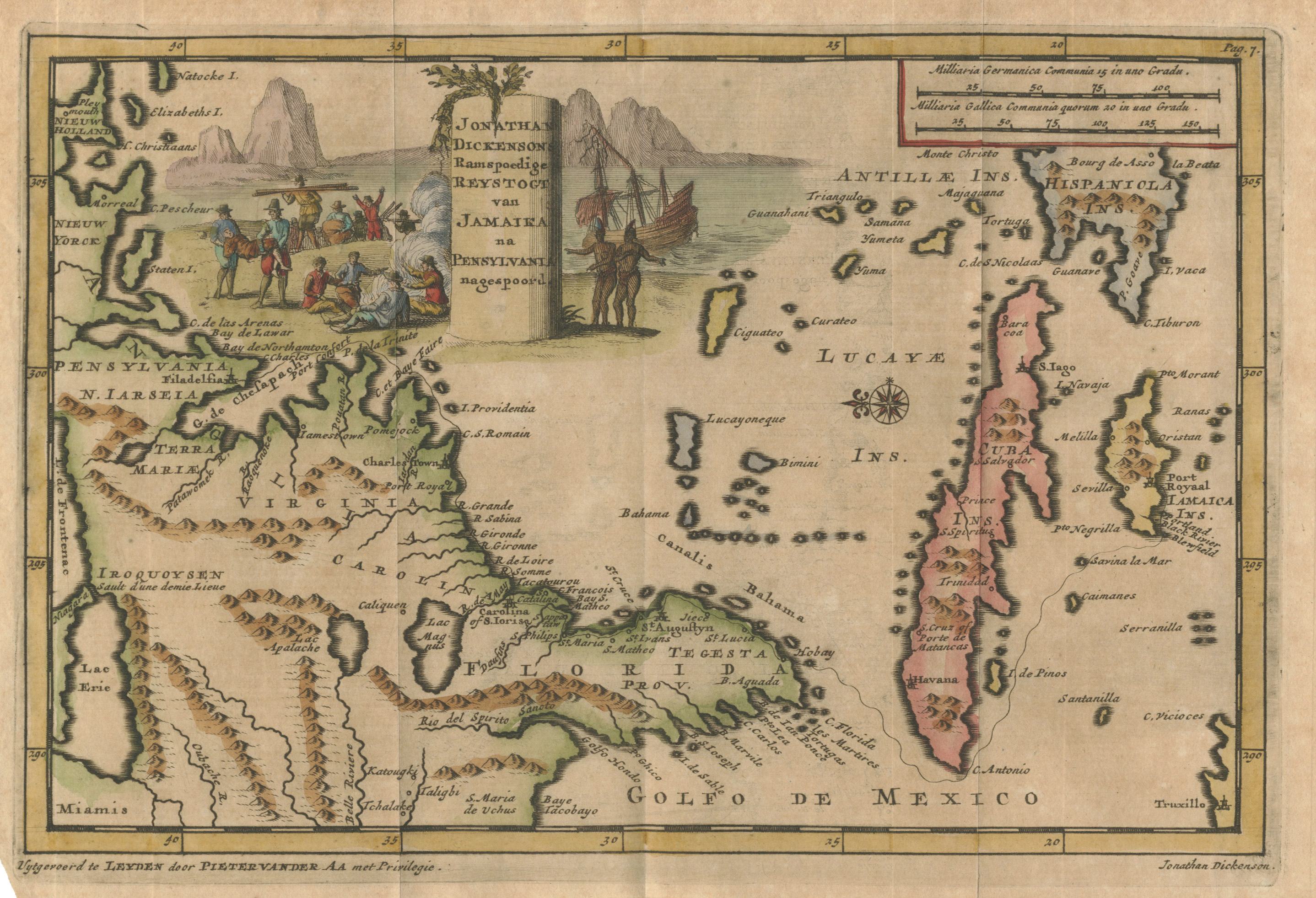 Antique Map East US Caribbean Van Der Aa : hjbmaps.com – HJBMaps.com ...