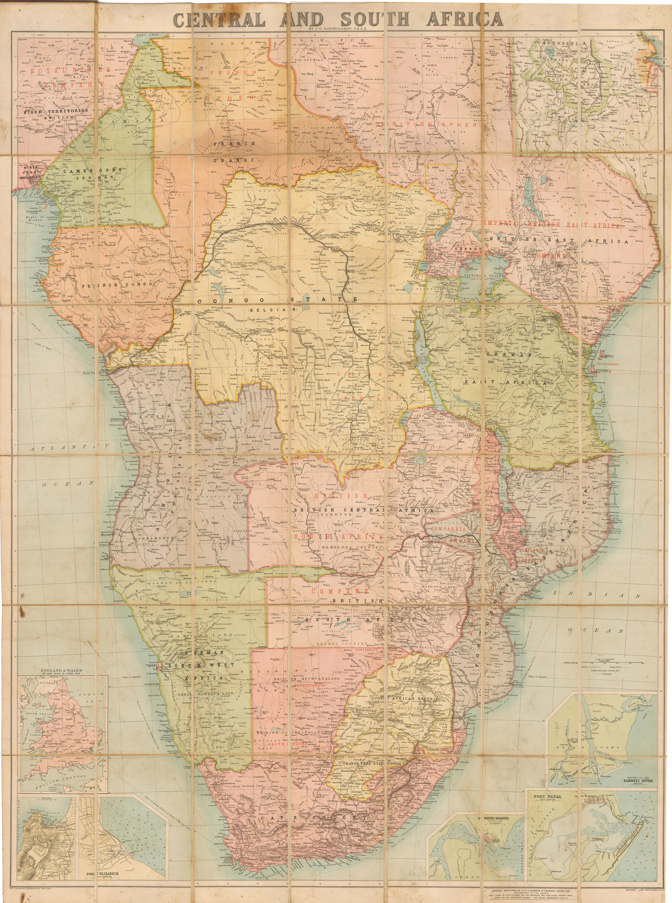 1892 Map of Central and South Africa : hjbmaps.– HJBMaps.