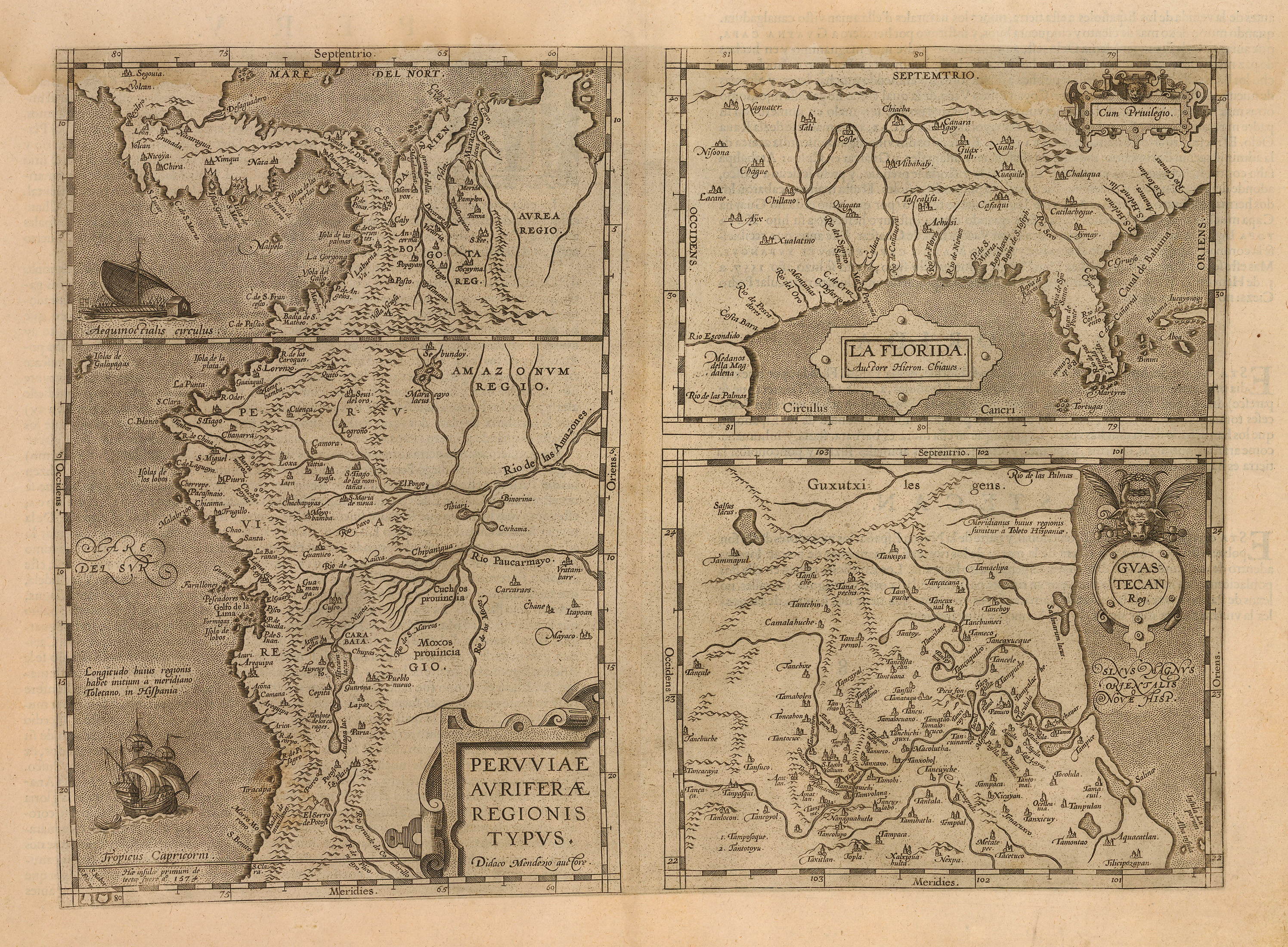 Antique Map Of Florida.1592 Peruviae Auriferae Regionis Typus La Florida Guastecan Reg