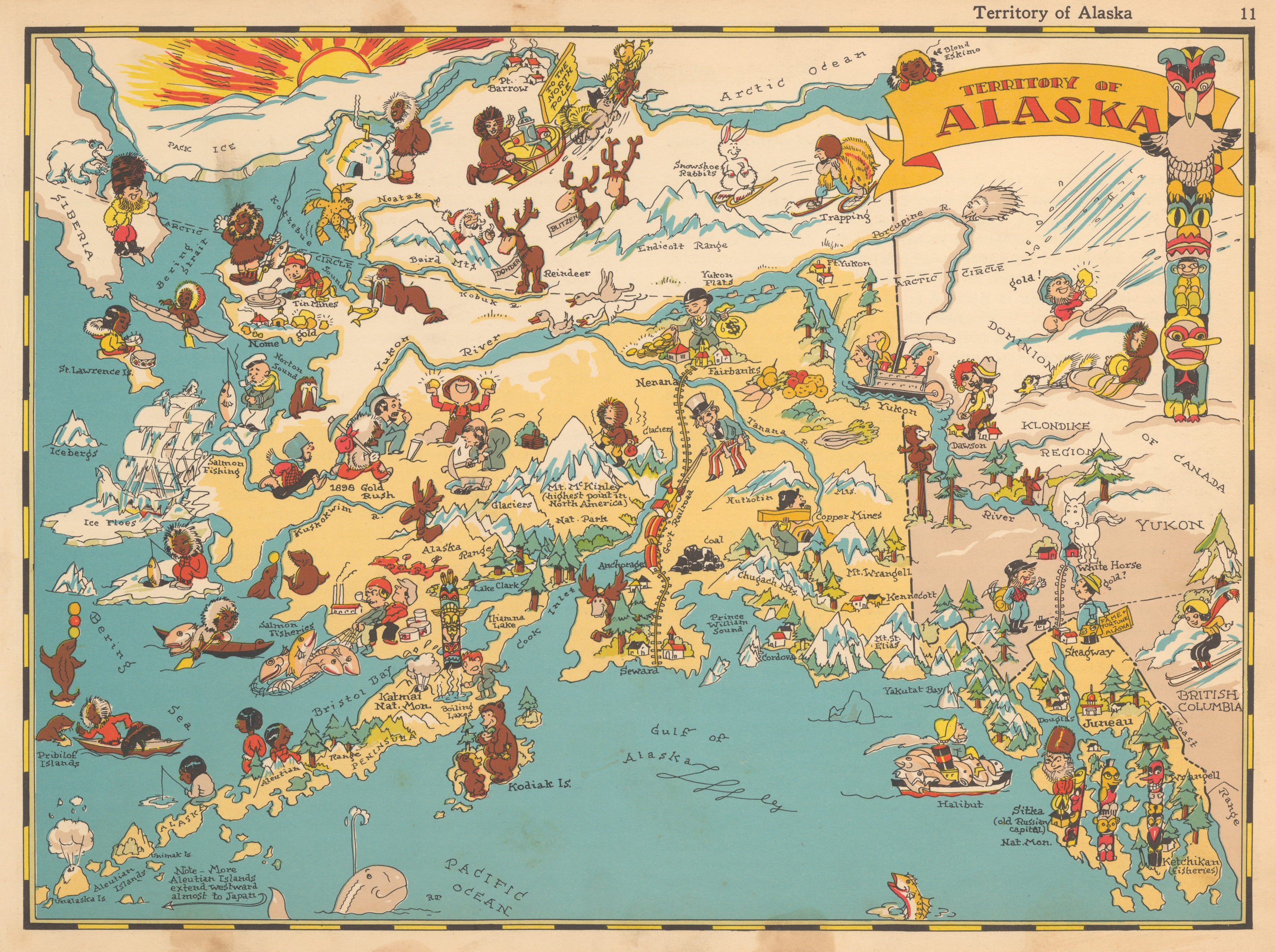 Pictorial Map of Alaska by: Ruth Taylor 1935 : hjbmaps.com – HJBMaps ...
