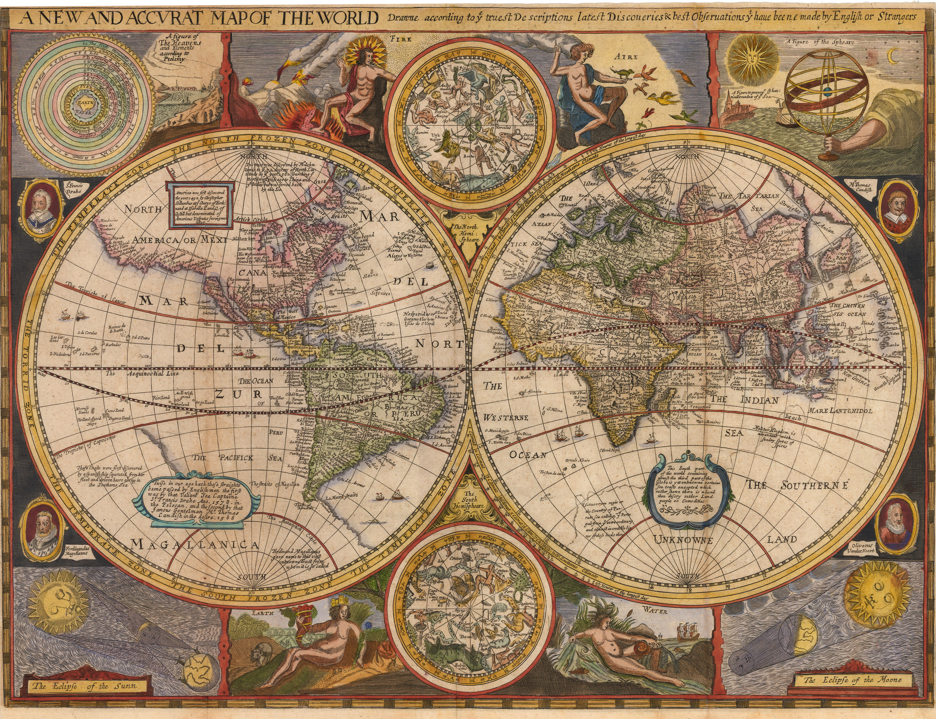 Map Of The World In English.1659 A New And Accurat Map Of The World Drawne According To Ye Truest Descriptions