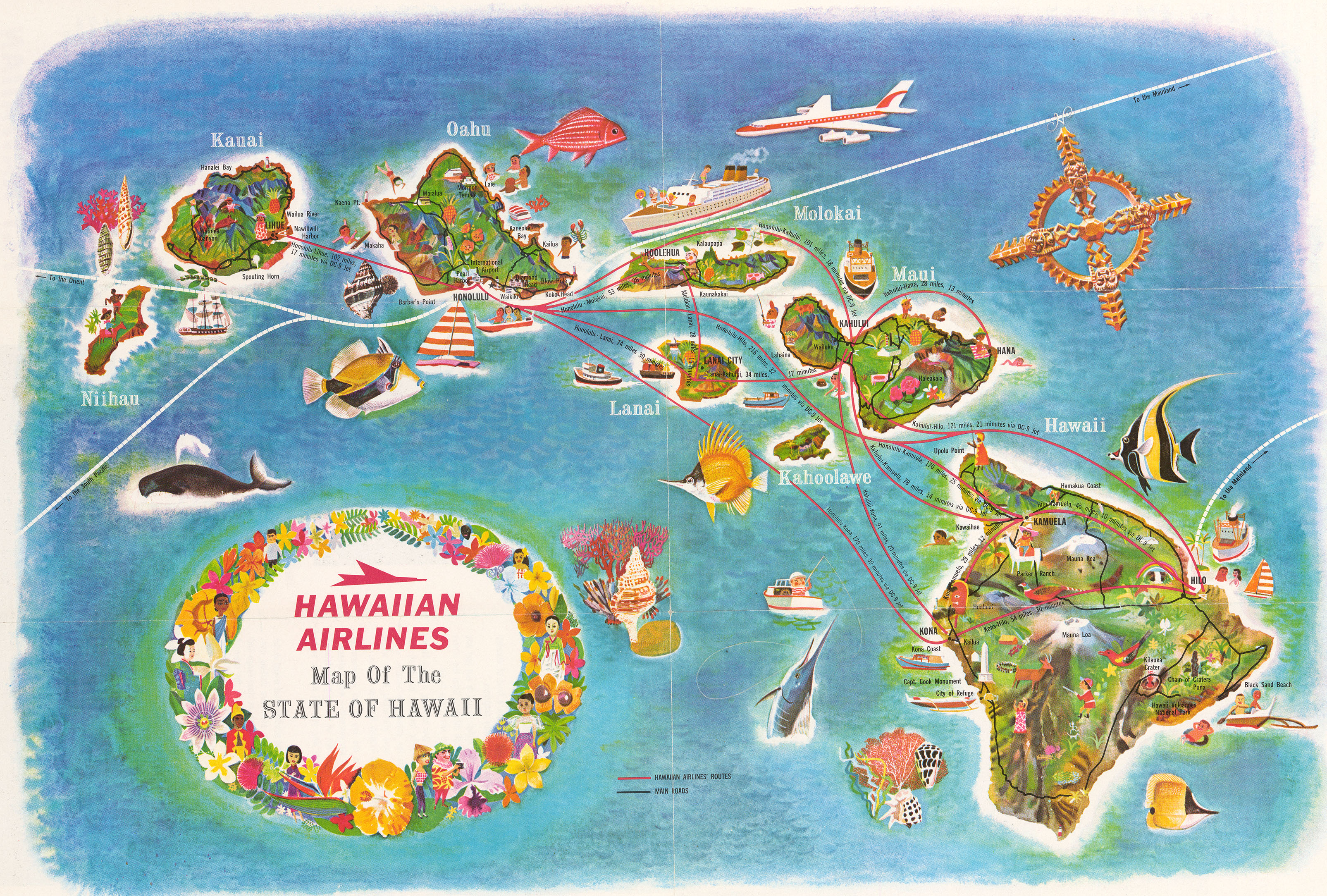 1960 Hawaiian Airlines Map Of The State Of Hawaii Hjbmaps Com