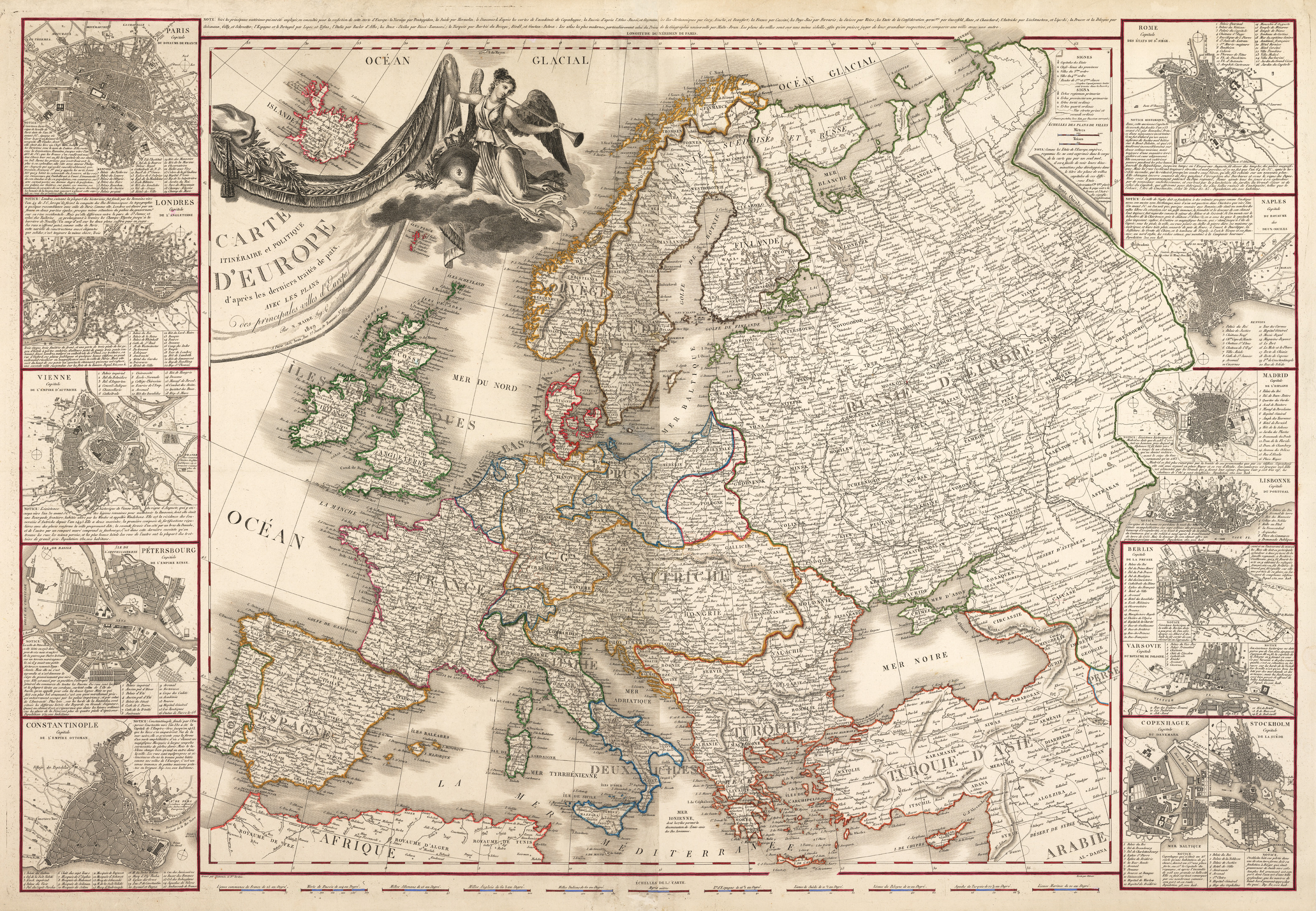 Antique Map Of Europe By Maire HJBMapscom HJBMapscom - 1829 us map