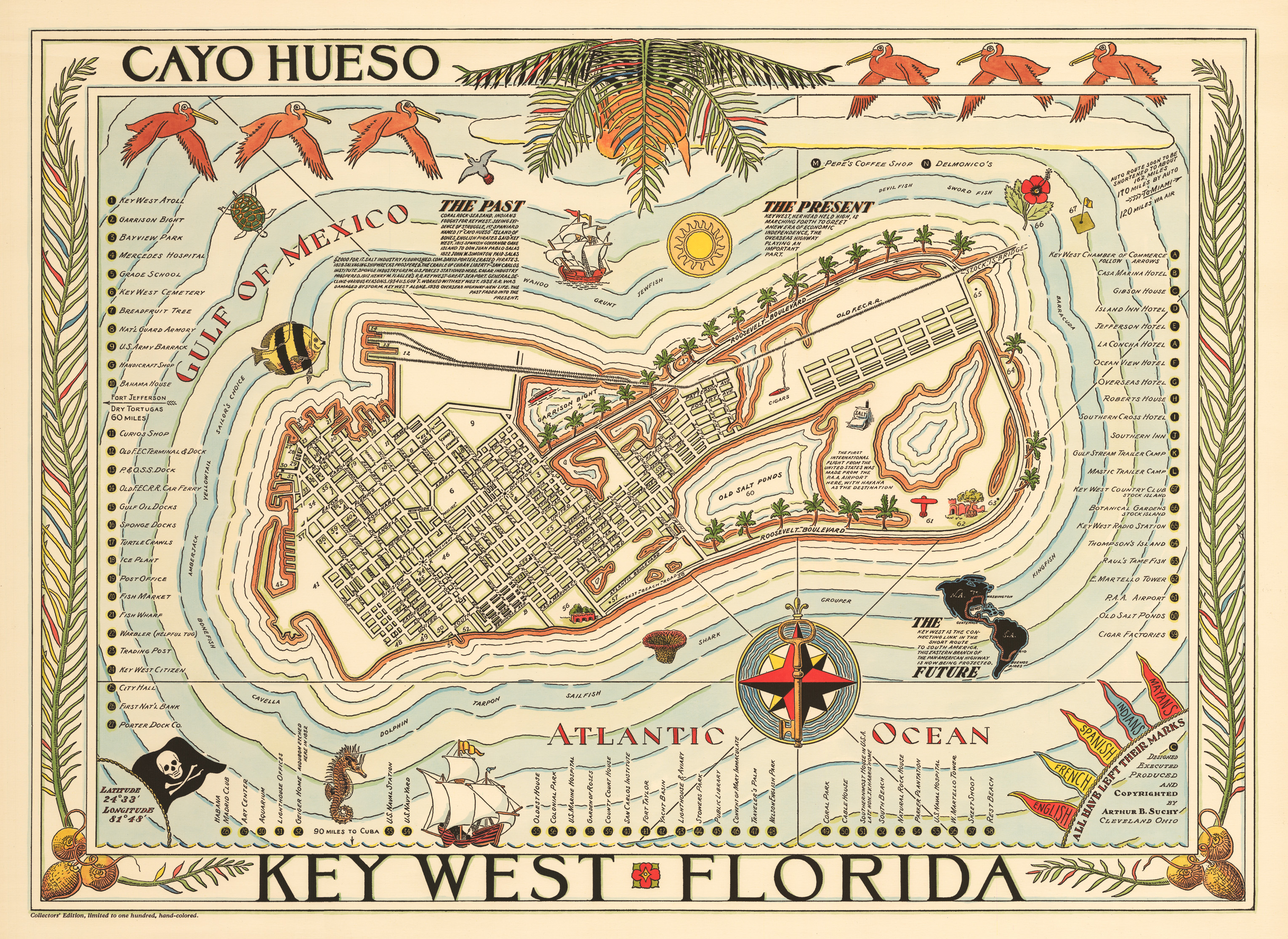 Vintage map key west florida cayo hueso 1940 hjbmaps high resolution image gumiabroncs Image collections