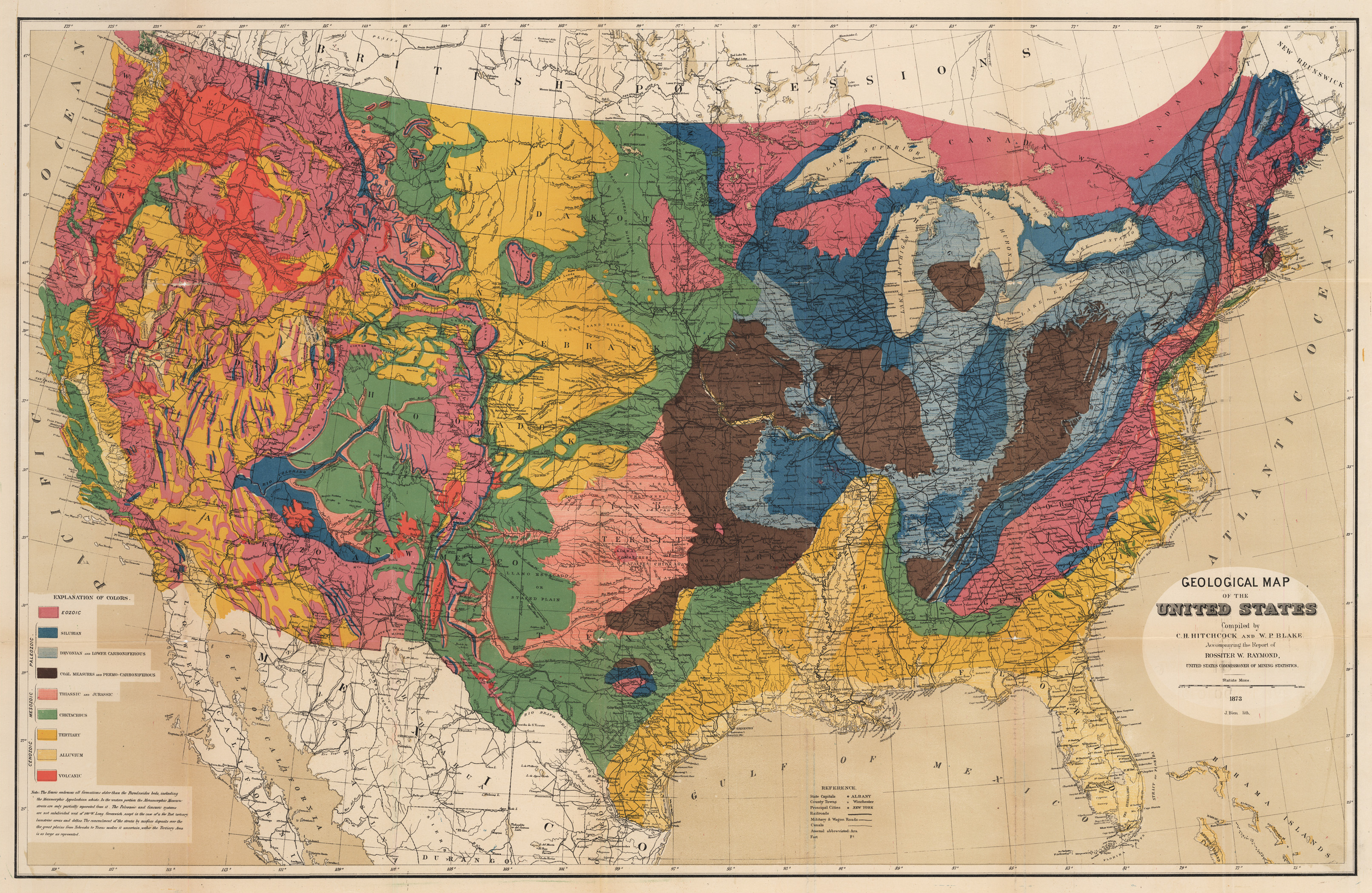 19th Century Geological Map of the United States : hjbmaps.com ...