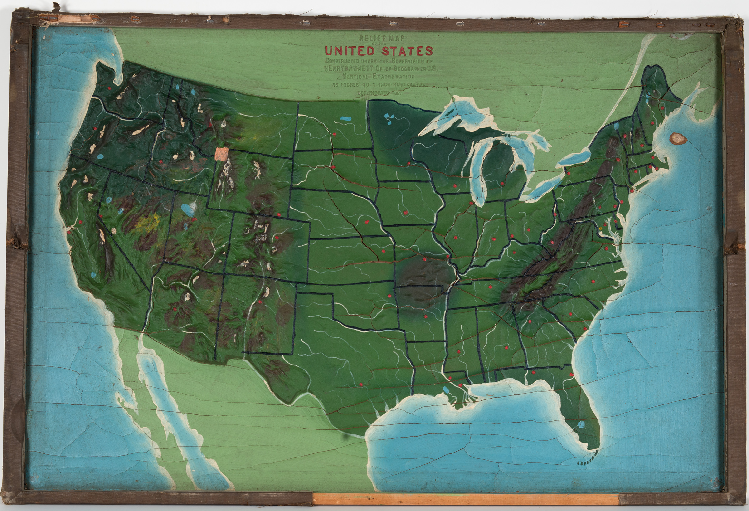 Antique Relief Map Of The United States By Yaggy Hjbmaps - Relief map us