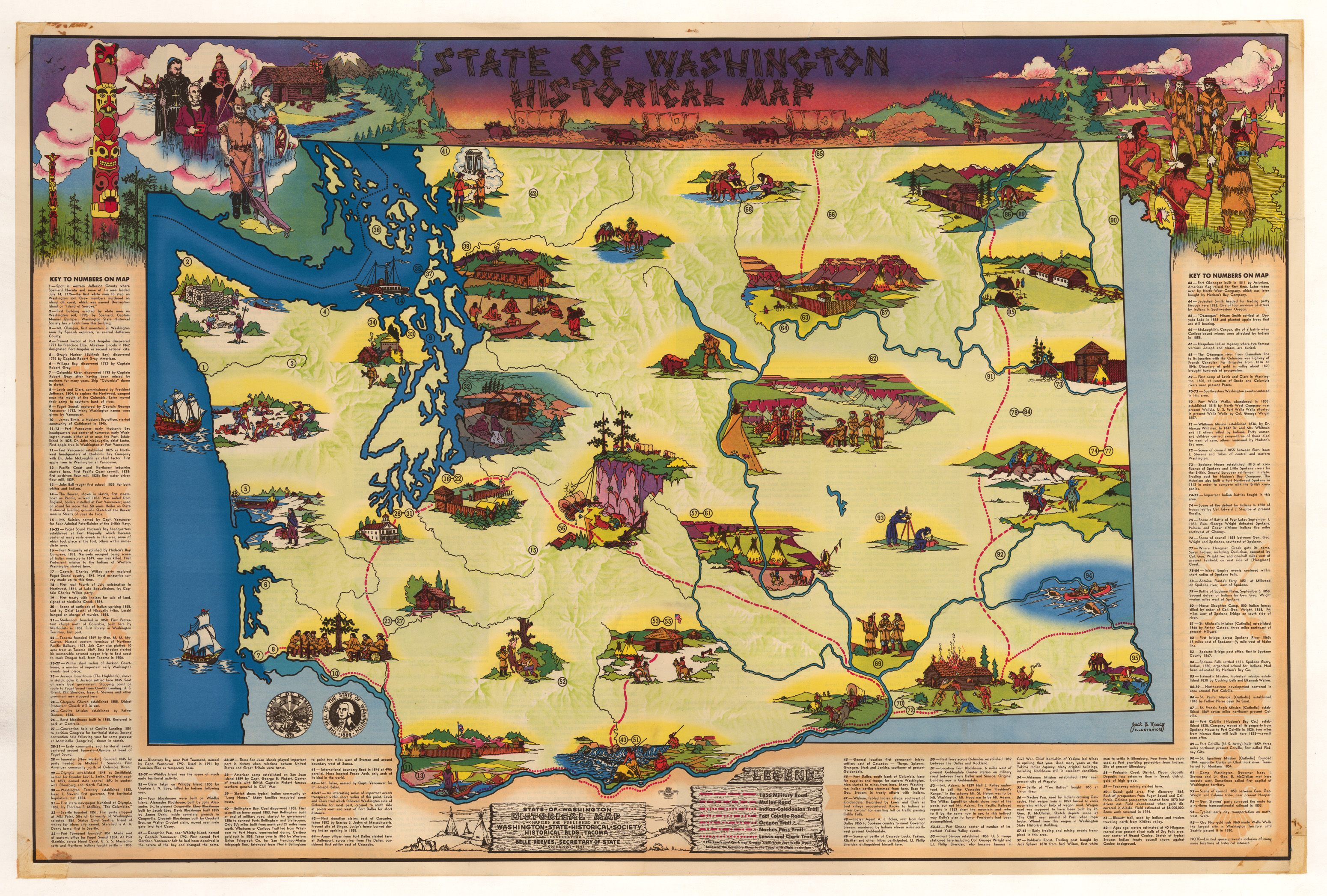 Washington Map Society.Vintage Pictorial Map Of The State Of Washington 1947 Hjbmaps Com
