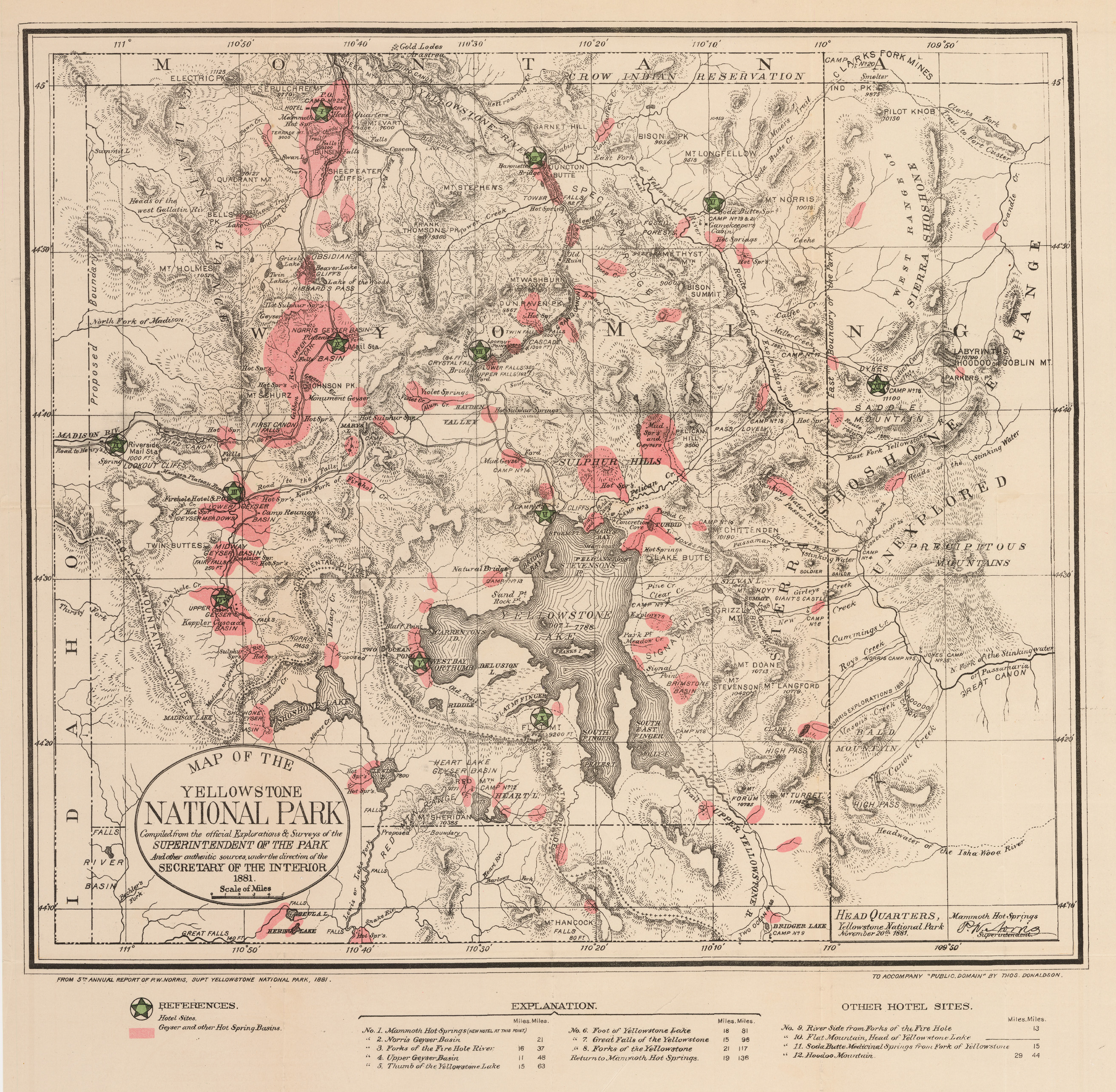 Antique Map of the Yellowstone National Park 1881 : hjbmaps.com ...
