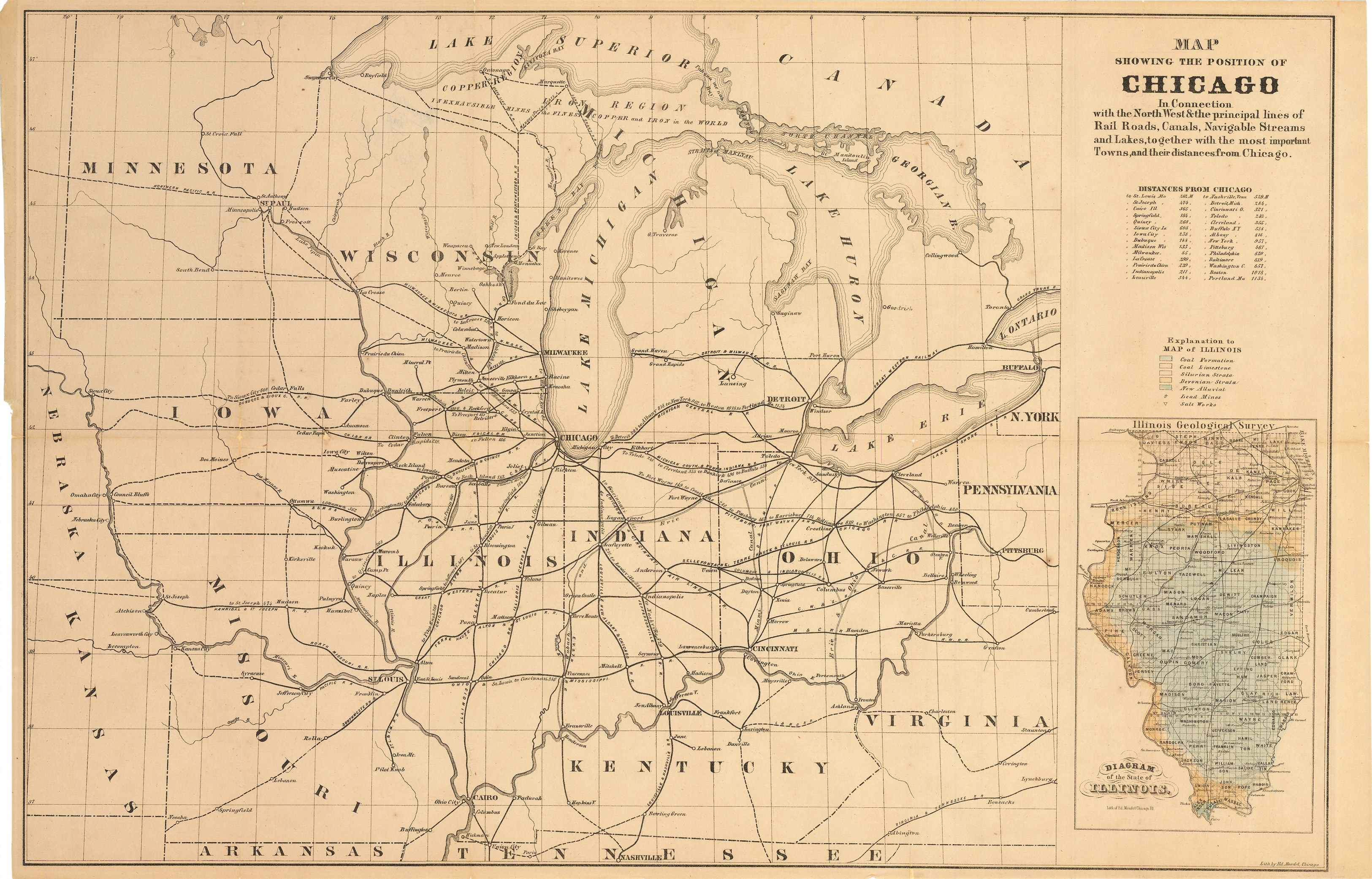 Antique Railroad Map Midwest Chicago Hjbmapscom - Map of us railroads in 1850