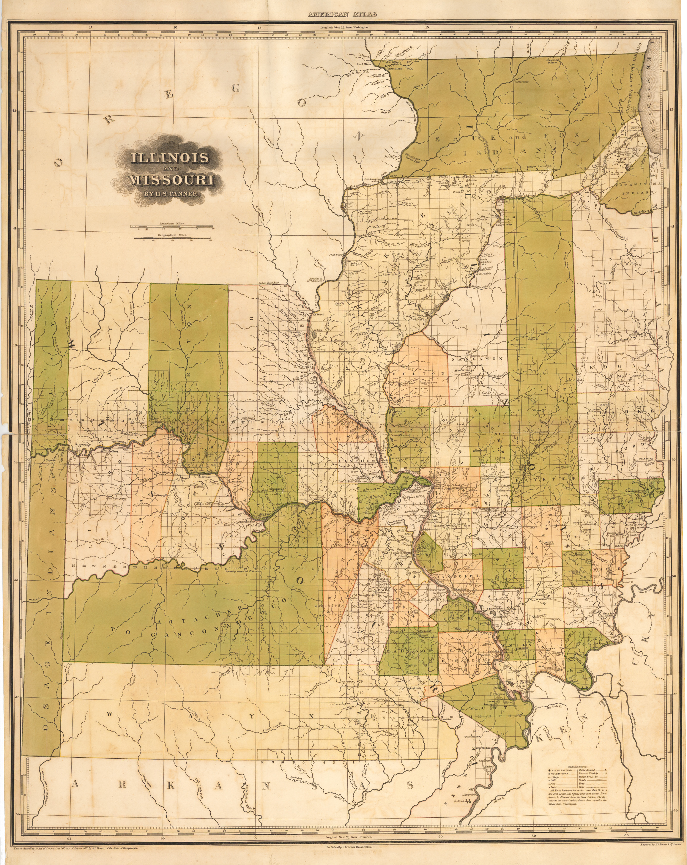 Antique map of illinois and missouri by hs tanner 1823 hjbmaps high resolution image gumiabroncs Gallery