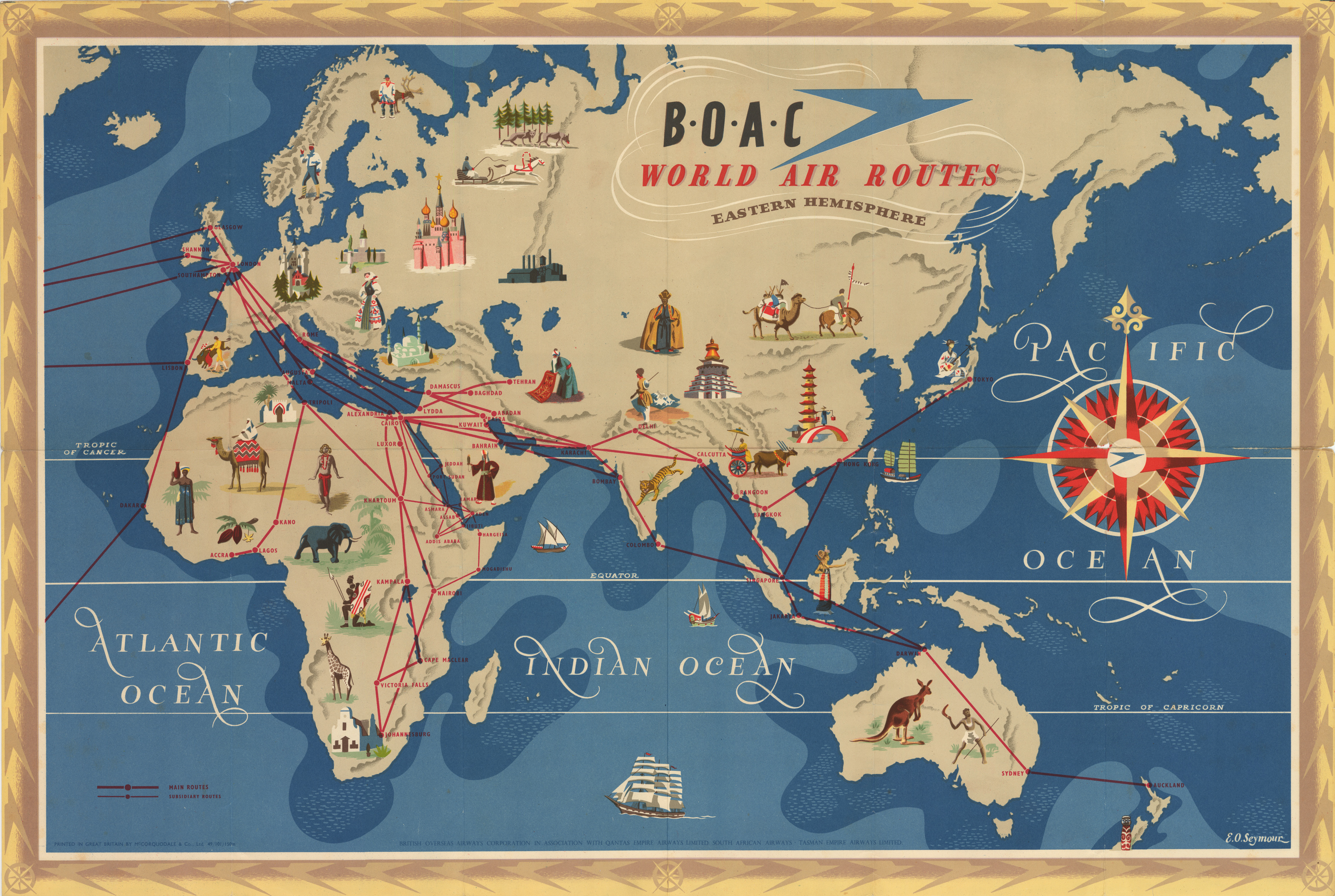 Air Map Of The World.Antique Map Boac World Air Routes By E O Seymour 1949 Hjbmaps Com