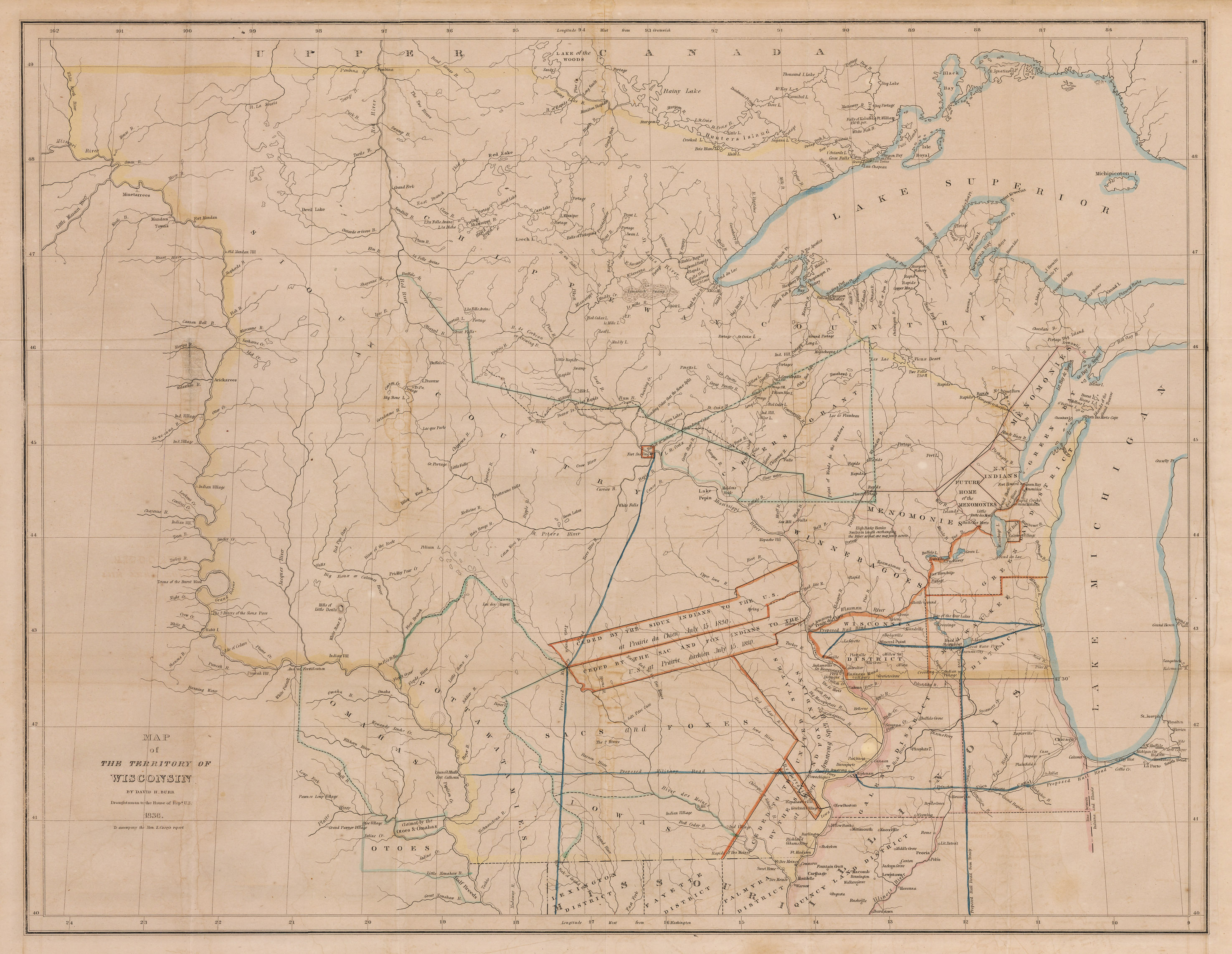 Antique Map Of The Territory Of Wisconsin By Burr Hjbmaps - Map of wisc
