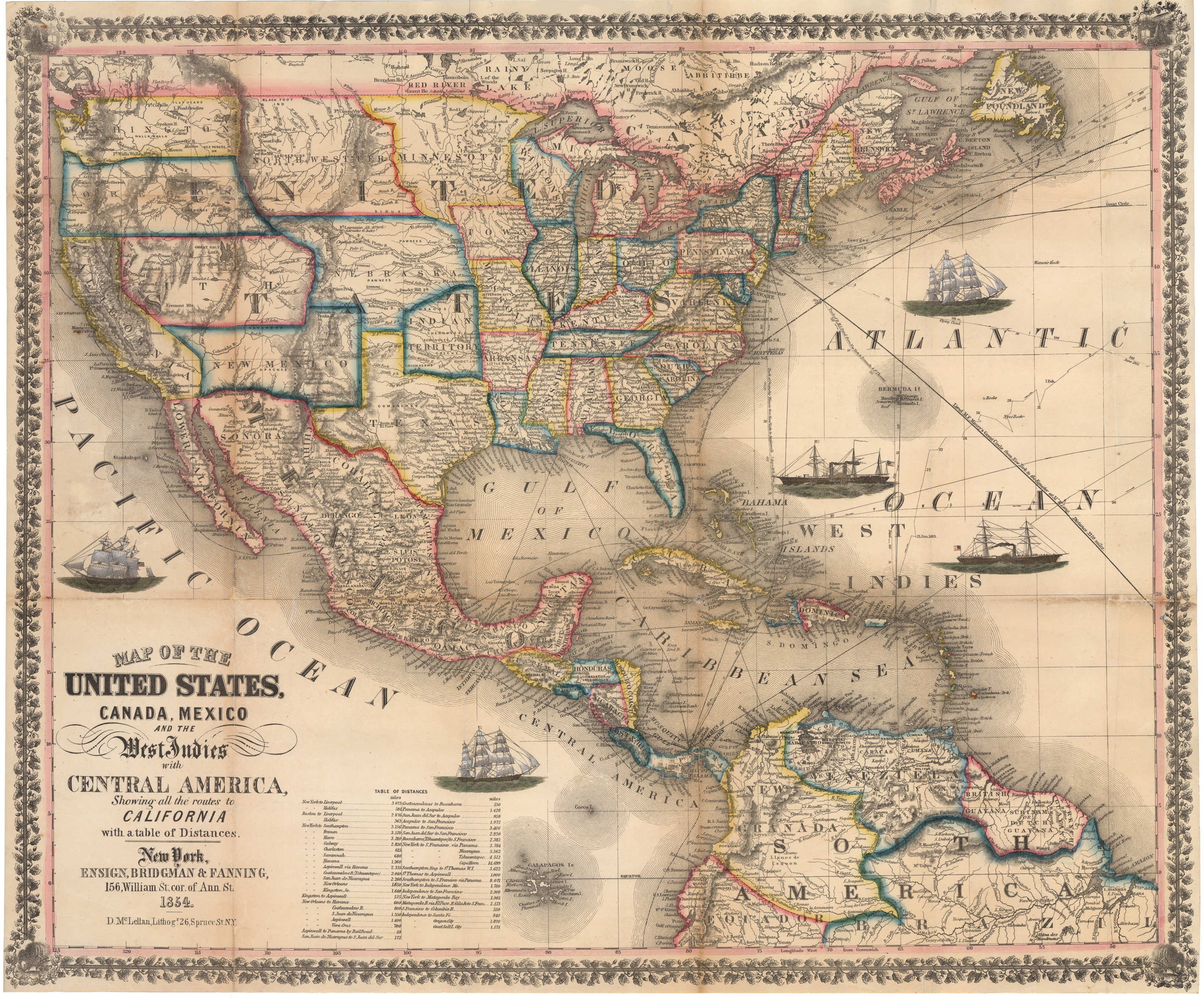 1854 map of the united states canada mexico and the west indies high resolution image gumiabroncs Choice Image
