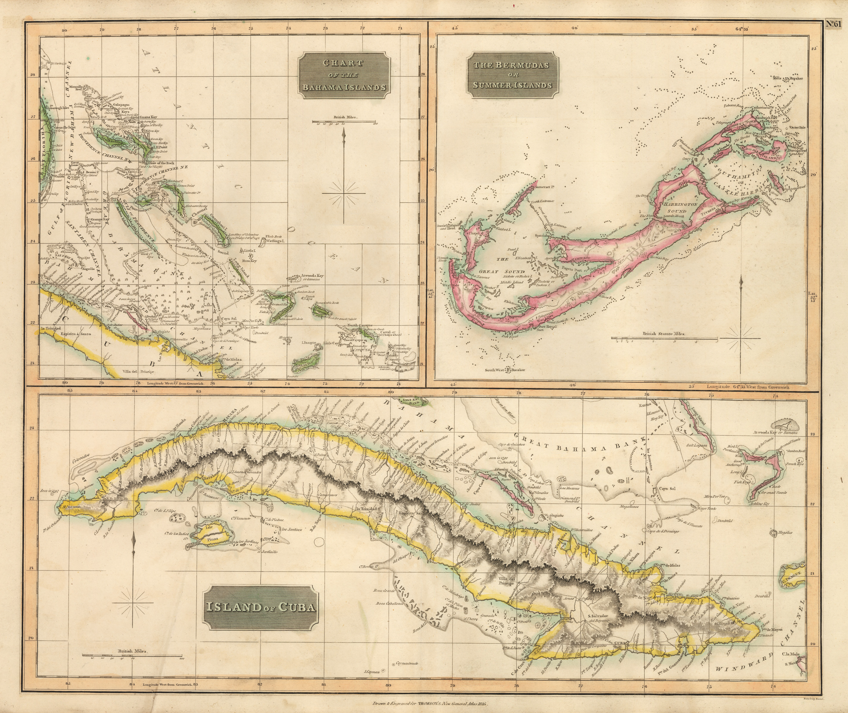 Antique map of the bahamas bermuda and cuba 1815 hjbmaps high resolution image gumiabroncs Choice Image