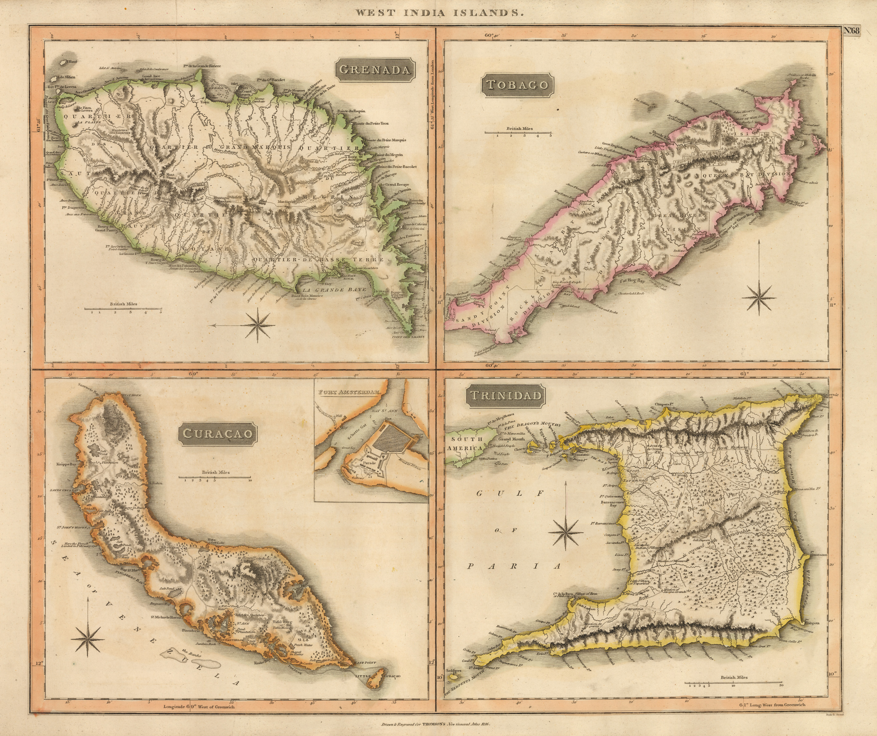 Tobago Island: Antique Map Of Grenada, Tobago, Curacao & Trinidad