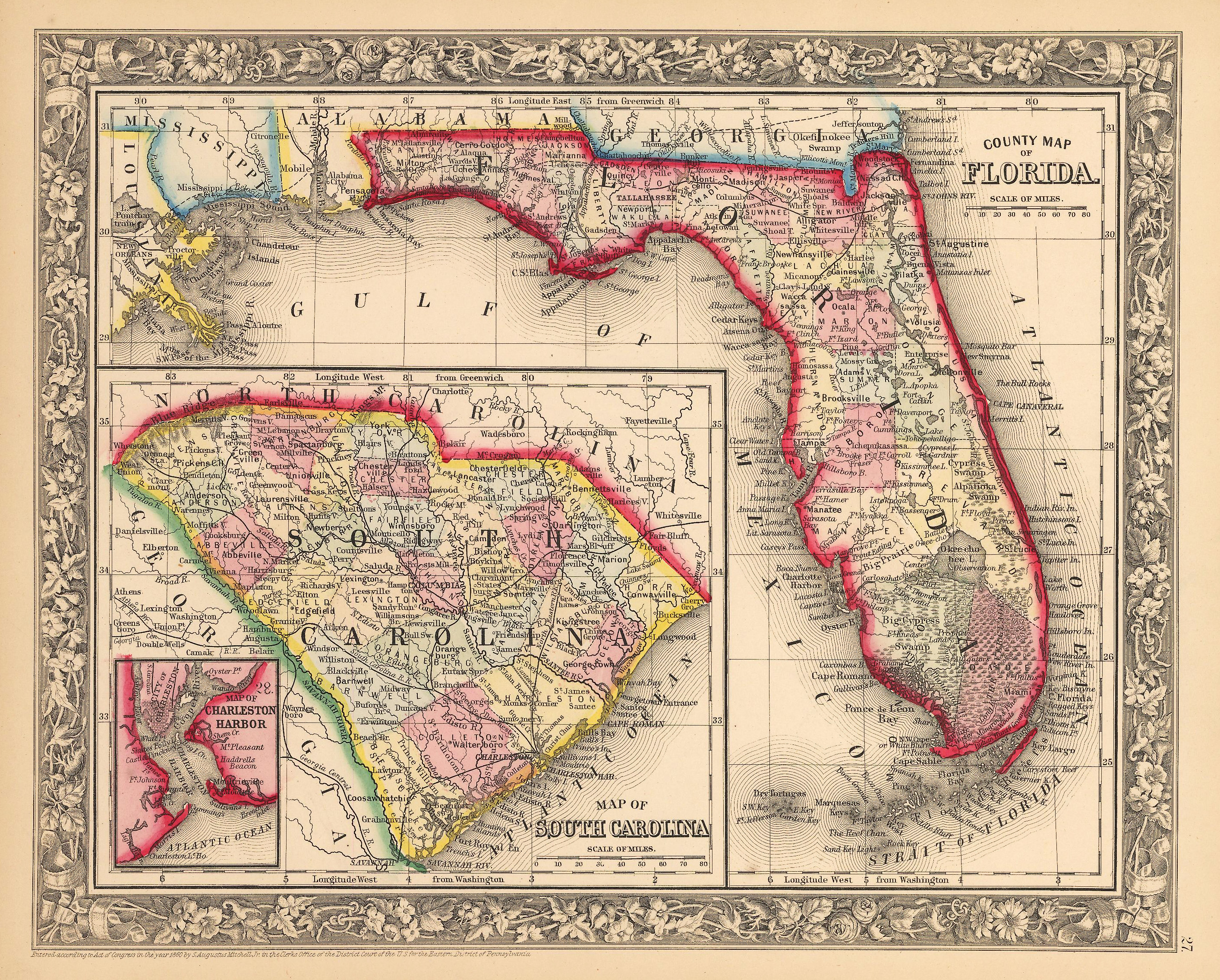 Florida On A Map.Antique Map Of Florida And South Carolina By Mitchell 1862