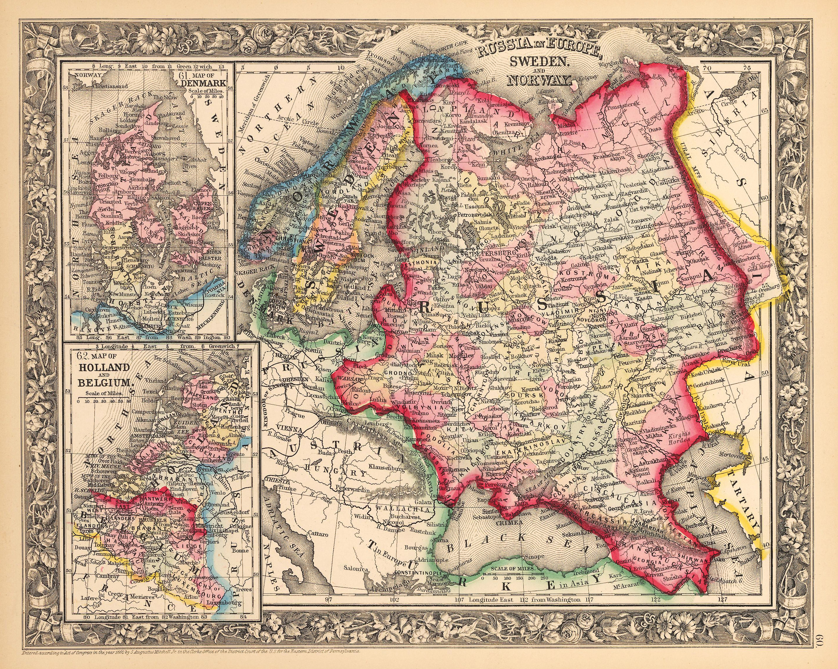 Antique map of scandinavia by mitchell 1862 hjbmaps hjbmaps high resolution image gumiabroncs Images