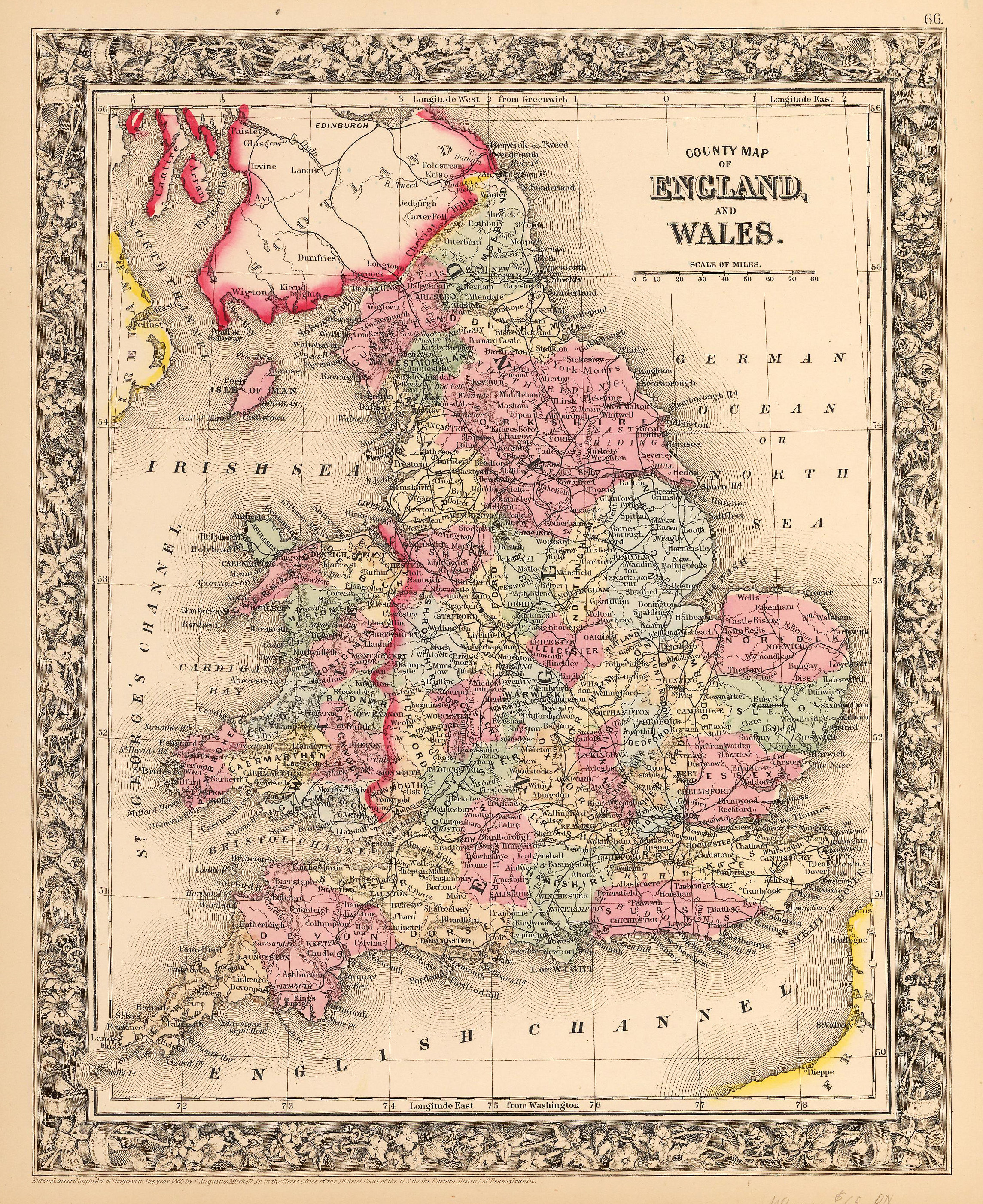 Antique map of england and wales by mitchell 1862 hjbmaps high resolution image gumiabroncs Image collections