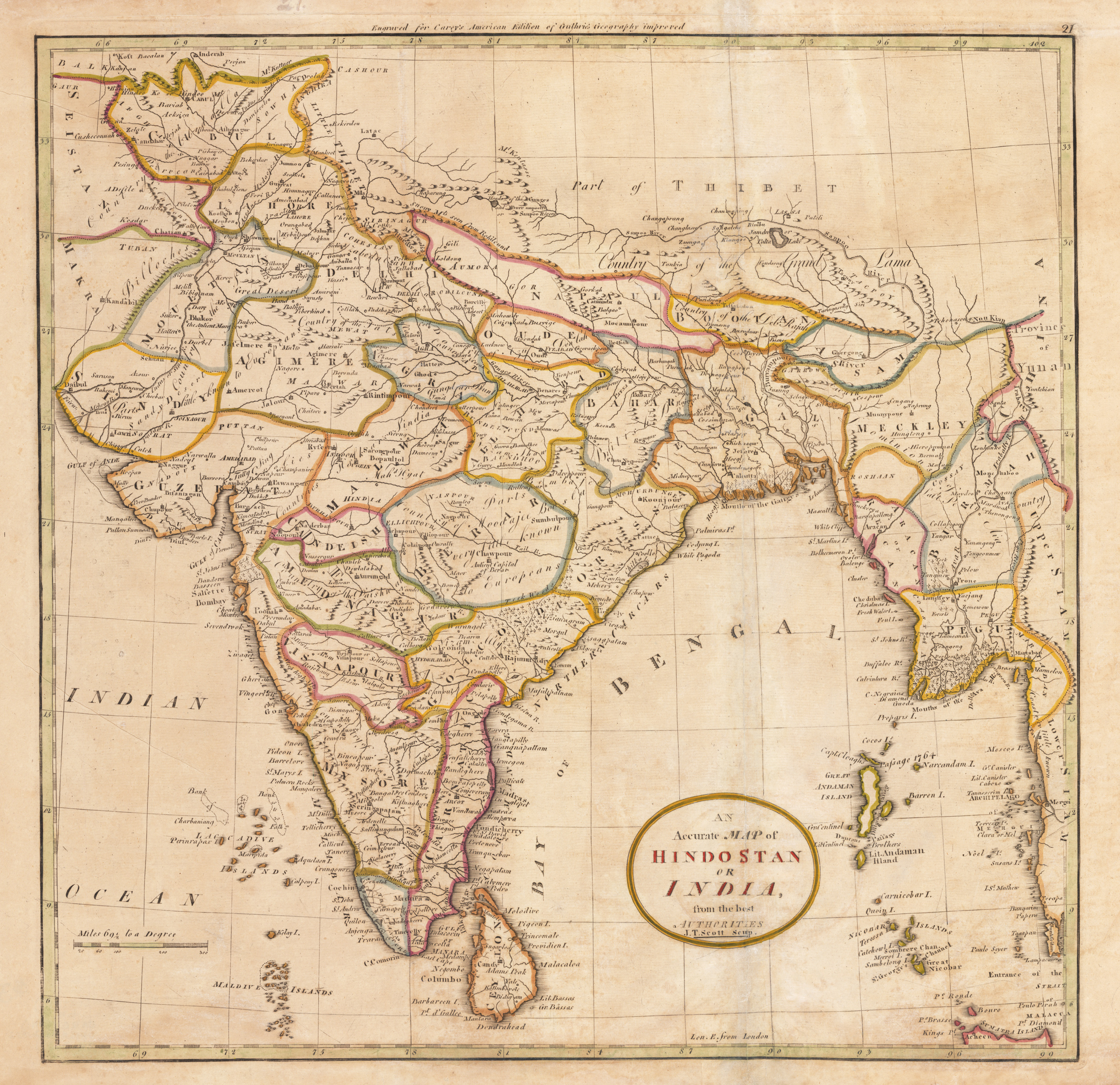 1800 An Accurate Map of Hindostan or India from the best Authorities
